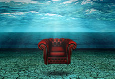 Submerged Chair in Submerged Desert Ruins Stock Images