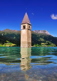 Submerged Church Tower, Lago di Resia, Italy Royalty Free Stock Photos