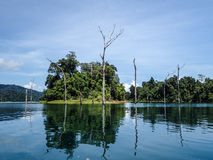 Submerged dead forest and island at Khao Sok Stock Photo