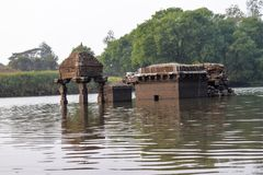 Submerged epic ancient India temple found in the river stock image