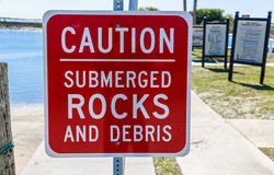 Submerged Rock Sign Stock Images