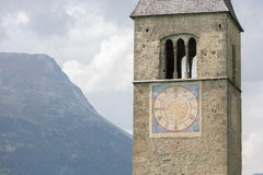 Submerged tower of reschensee church deep in Resias Lake in Tren Stock Photo