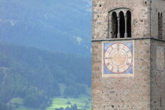 Submerged tower of reschensee church deep in Resias Lake in Tren Royalty Free Stock Photography