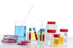 Submeta com sangue de diversos tubos, placas petri e as amostras de urina do fundo no laboratório Fotografia de Stock Royalty Free