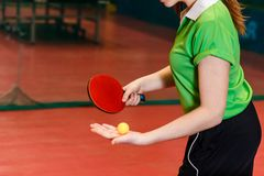 Submission of the ball in table tennis close, only the hands of athletes. Ping pong royalty free stock photo