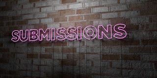 SUBMISSIONS - Glowing Neon Sign on stonework wall - 3D rendered royalty free stock illustration. Can be used for online banner ads and direct mailers Royalty Free Stock Photo