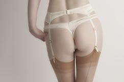 Cream Stockings Woman Stock Photos