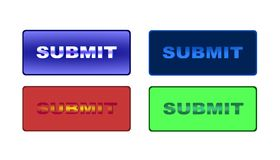 Submit. Four different submit buttons for sites Stock Photo