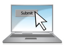 Submit Button. Clicking on the submit button over a gradient background inside a laptop computer Stock Images