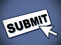 Submit button. Simulated computer screen with SUBMIT button and cursor arrow. Angled view Stock Photography