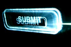 Submit button. Abstract submit neon button in dark royalty free stock photo