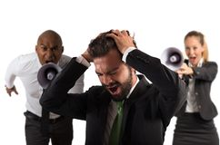 Submit an employee. Boss scolds with megaphone a desperate employee Stock Photo