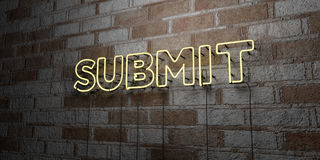 SUBMIT - Glowing Neon Sign on stonework wall - 3D rendered royalty free stock illustration Stock Photography