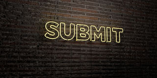 SUBMIT -Realistic Neon Sign on Brick Wall background - 3D rendered royalty free stock image Royalty Free Stock Images