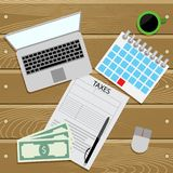 Submit tax return top view. Vector tax payment, report and submit accountant financial, taxation illustration Stock Photos