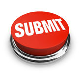 Submit Word on Round Red Button. A red button with the word Submit on it Stock Images