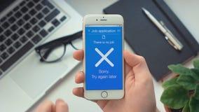 Submiting arbetsapplikation på platsansökan app på smartphonekuggning inget jobb