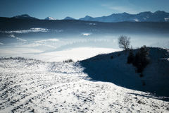 Submontane winter snowy landscape. Seasonal background submontane winter snowy landscape stock photo