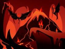 Submundo escuro nas chamas ilustração stock