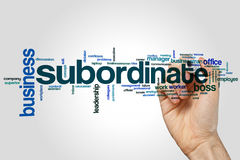 Subordinate word cloud. Concept on grey background Stock Photo