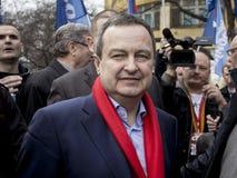 Subotica, Сербия - 27-ое марта 2016: Сербский министр иностранных дел Ivica Dacic проводит речь в политическом митинге стоковая фотография rf