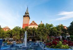 Subotica, Serbia - August 15, 2018: Subotica cathedral and city park with the fountain royalty free stock image