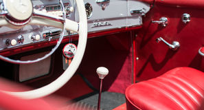 Subotica,Serbia-Jun 05,2016:Luxury interior in Mercedes SL from 1964 on Annual old timer public. Subotica,Serbia-Jun 05,2016:Interior in Mercedes SL from 1964 on Royalty Free Stock Image