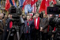 Subotica, Serbie - 27 mars 2016 : Le ministre des affaires étrangères serbe Ivica Dacic tient un discours dans un rassemblement p Photos stock