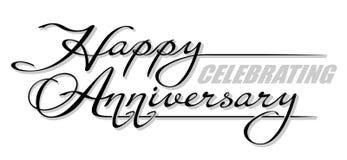 Subraye el ` de celebración feliz del aniversario del ` manuscrito del texto con la sombra Letras dibujadas mano de la caligrafía stock de ilustración