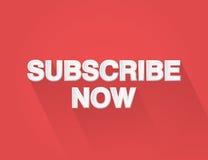 Subscreva agora o projeto liso da arte de papel typograpgy no fundo vermelho Imagem de Stock