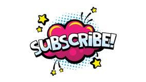 Subscreva a animação da palavra para publicar em blogs, fluir e seguir em redes e no vlog sociais em meios do Internet comic ilustração royalty free