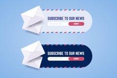 Subscreva ao formulário do boletim de notícias para a Web e aplicações móveis dentro ilustração do vetor
