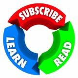 Subscreva lido aprendem o diagrama de seta do círculo das palavras Imagens de Stock Royalty Free
