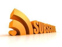 Subscreva o símbolo do texto do conceito do RSS no branco Imagens de Stock Royalty Free