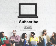 Subscribe Advertising Marketing Membership Concept. Diverse People Subscribe Advertising Marketing Membership Royalty Free Stock Photo