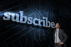 Subscribe against futuristic black and blue background Royalty Free Stock Photography