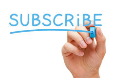 Subscribe Blue Marker Stock Photography