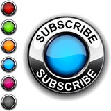 Subscribe  button. Subscribe  realistic round blue button Royalty Free Stock Images