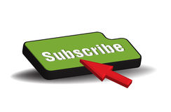 Subscribe button. And red cursor isolated on a white background Stock Image