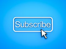 Subscribe button with computer arrow cursor. On blue background. 3D rendering Royalty Free Stock Images