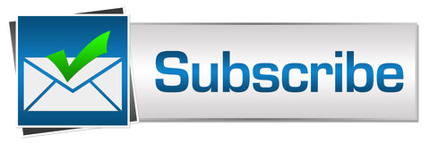 Subscribe Button Style. Subscribe concept image with text and related symbols Stock Photography