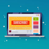 Subscribe button on a video channel. Idea for video streaming, b Royalty Free Stock Photography