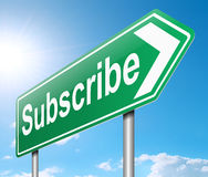 Subscribe concept. Illustration depicting a sign with a subscribe concept Stock Photos