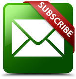 Subscribe email icon green square button. Reflecting shadow with red ribbon in corner Stock Photography