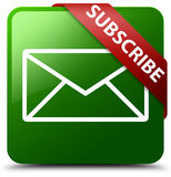 Subscribe email icon green square button Stock Images