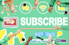 Subscribe Follow Registration Support Media Concept.  royalty free stock photo