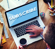 Subscribe Follow Subscription Membership Social Media Concept stock photography