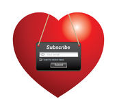 Subscribe. Illustration of heart shape with subscribe sign Stock Photos