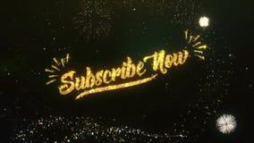 Subscribe jetzt grüßen und Wunsch-Wunderkerzefeuerwerk stock footage