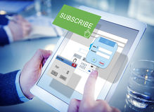 Subscribe Member Register Social Media Feed Concept Stock Photos